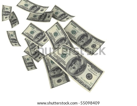 Falling money isolated on white - stock photo