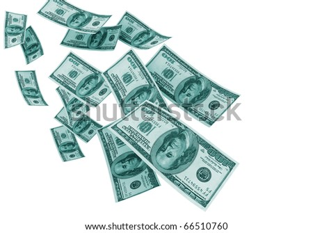 Falling money isolated on white background - stock photo