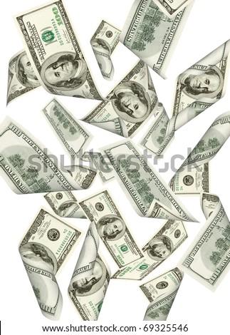 Falling money isolated on white background - stock photo