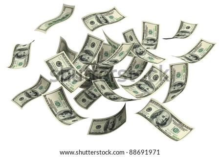 Falling money on a white background