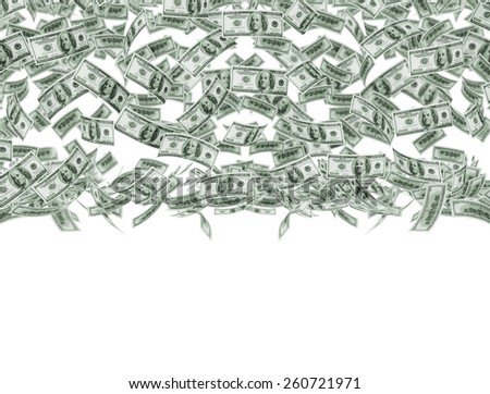 Falling money on white background  - stock photo