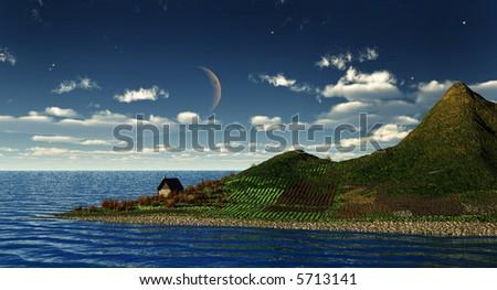 falling night in a dreamy island - stock photo