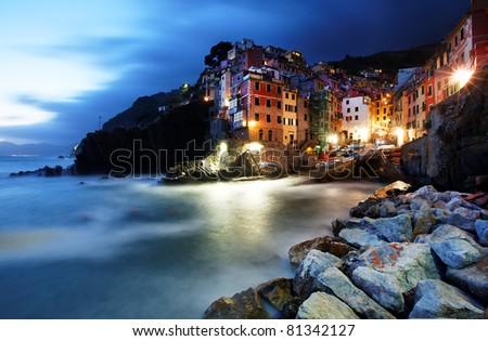 Falling night in Riomaggiore Village, Cinque Terre, Italy - stock photo