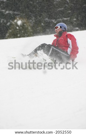 Falling of the skier
