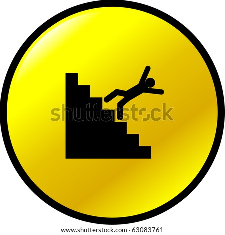 falling off the stairs button - stock photo