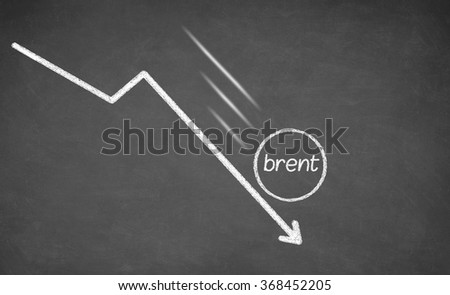 Falling Oil. Arrow falling down. Drawn with white chalk on blackboard - stock photo