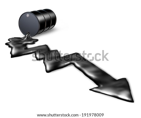 Falling oil prices and decrease of petroleum costs concept as a barrel pouring out black liquid shaped as a downward chart arrow as an icon of energy stock market decline and loss due to the economy. - stock photo