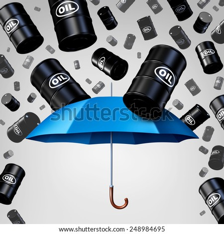 Falling oil protection concept as a group of crude petroleum barrels raining down with a blue umbrella as a security metaphor as a symbol for declining prices in fossil energy due to oversupply. - stock photo