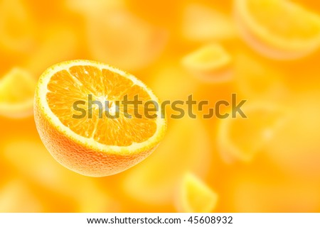 Falling oranges - stock photo