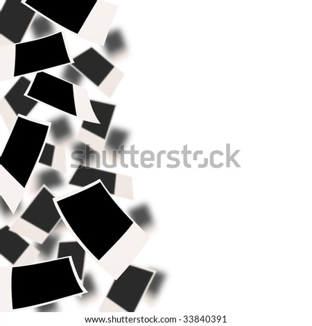 Falling photographs with white copyspace on the right - stock photo