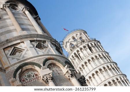 Falling Pisa Tower in Italy, Pisa City - stock photo