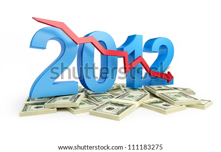 falling profits in 2012 - stock photo
