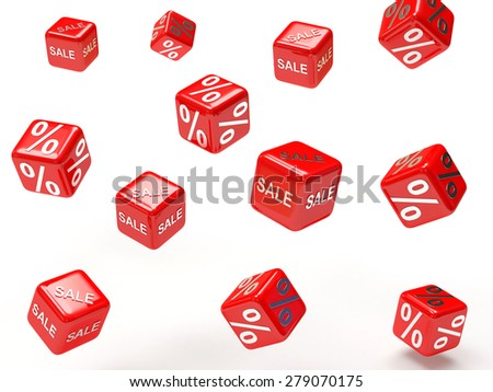 Falling red cubes with percent sign and word SALE isolated on white background - stock photo