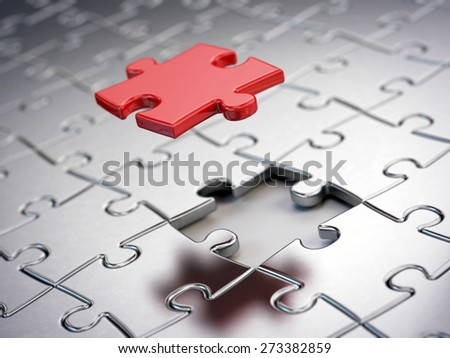 Falling Red puzzle piece - stock photo