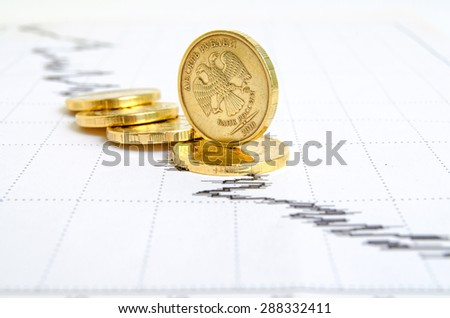 Falling ruble, still life with financial charts and coins.