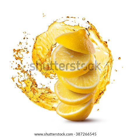 Falling slices of lemon against juice splash isolated on white background