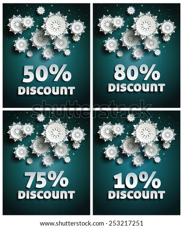 Falling snow background paper snowflakes over night dark sky with text discount set. Raster version - stock photo