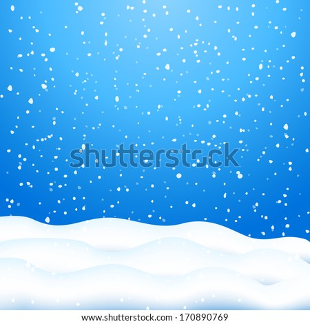 Falling Snow. Blue Winter Background - stock photo