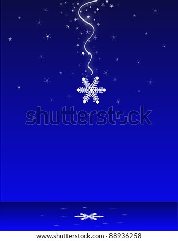 Falling snowflake with reflection - stock photo