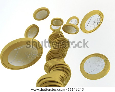 falling stack of one euro coins, bottom view
