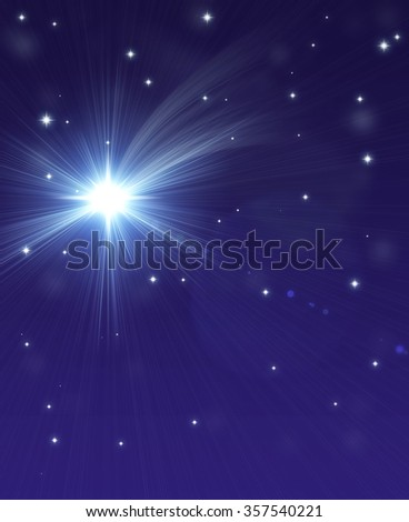 falling star, on a dark starry background - stock photo