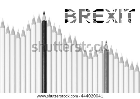 Falling stock market graph, white, gray and black pencils isolated on white background, concept for loss, decline, failure, crisis or brexit - stock photo