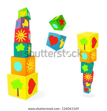 Falling tower of colorful childish play cubes - stock photo