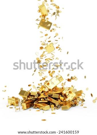 Falling Treasure. Golden Bars, Coins and Golden Pieces isolated on white background. Business Financial Concept - stock photo