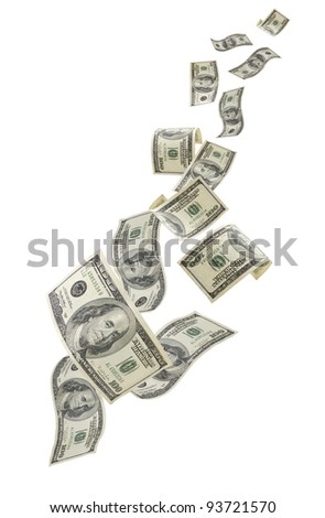 Falling US one hundred dollar bills, isolated on white background. - stock photo