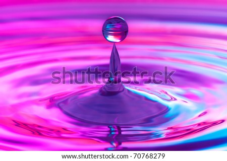 Falling water drop close up - stock photo