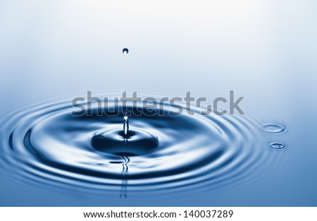 Falling water drops and splashes - stock photo