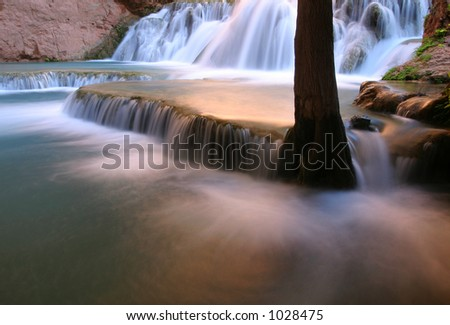 Falls along Havasu Creek, Arizona - stock photo
