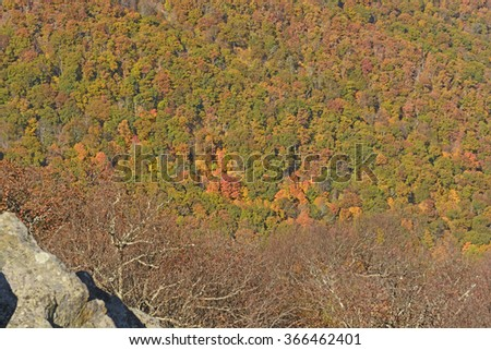 Falls Colors in an Appalachian Valley in Shenandoah National Park in Virginia - stock photo