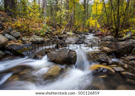 Falls creek in autumn near Winthrop, Washington.