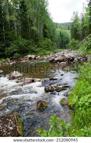 Falls in wood, the mountain river in Siberia - stock photo