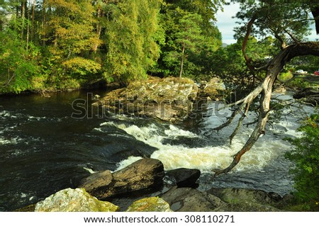 Falls of Dochart in the Scottish Highlands - stock photo