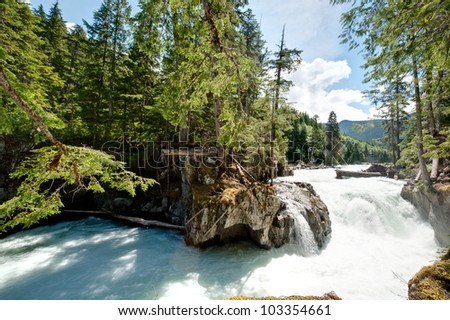Falls on Cheakamus River - stock photo