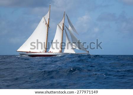 Falmouth, Antigua. 19th April 2015: Elena of London racing in the Antigua Classic Yacht Regatta 2015 - stock photo