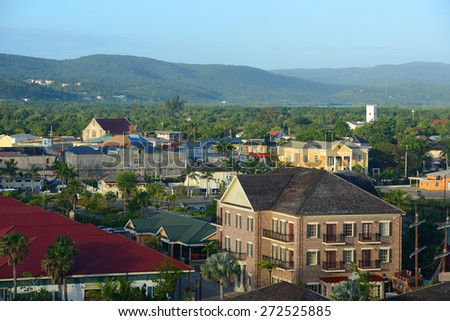 Falmouth CourtHouse and St. Peter's Anglican Church at downtown Falmouth, Jamaica.  The courhouse was built in 1817 with Jamaican Georgian architectural style at downtown Falmouth, Jamaica.  - stock photo