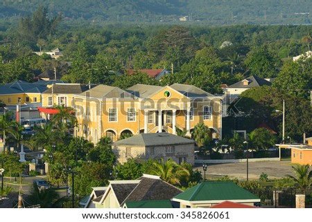 Falmouth CourtHouse was built in 1817 with Jamaican Georgian architectural style at downtown Falmouth, Jamaica. Today this building is served as town hall and courthouse. - stock photo