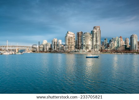 False Creek and downtown Vancouver, British Columbia - stock photo