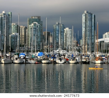 False Creek and Yaletown in Vancouver, British Columbia, Canada. - stock photo