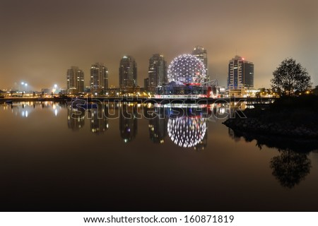 False Creek Night Fog, Vancouver. Foggy night time view of False Creek. Vancouver, British Columbia, Canada.  - stock photo
