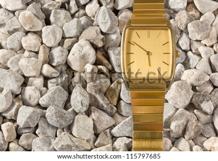 False Gold Wristwatch on the Gravel