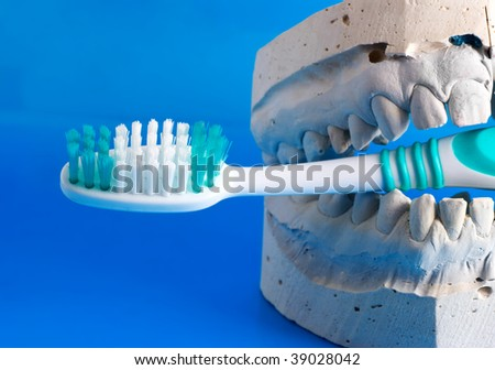 false teeth holds a tooth brush - stock photo