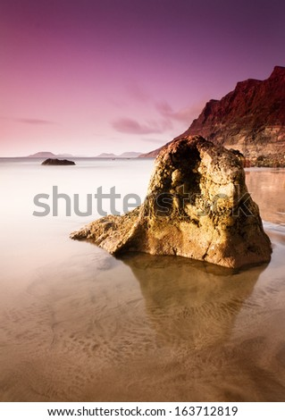 Famara beach in Lanzarote, Canary Islands (Spain) - stock photo