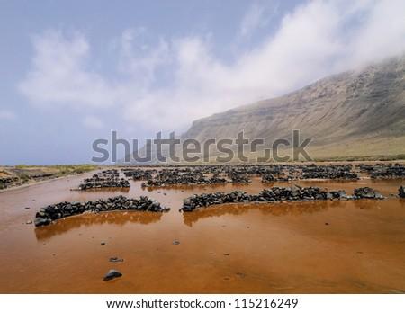 Famara Cliffs and Salinas del Rio, Lanzarote, Canary Islands, Spain - stock photo