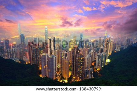 Famed skyline of Hong Kong from Victoria Peak - stock photo