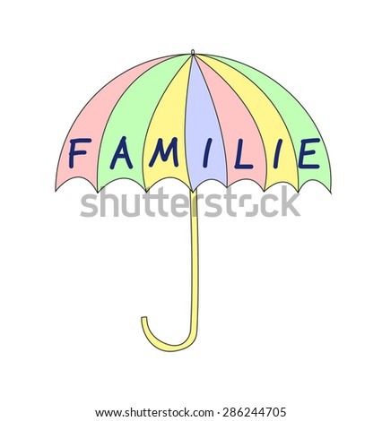 Familie - family in german - stock photo