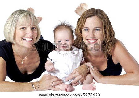 Families are the Best! Three Beautiful Women from Three Generations - stock photo